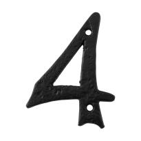 Huisnummer 4 landelijk, smeedijzer zwart, 101 mm