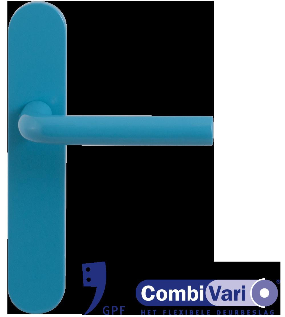Blauwe deurkruk op schild