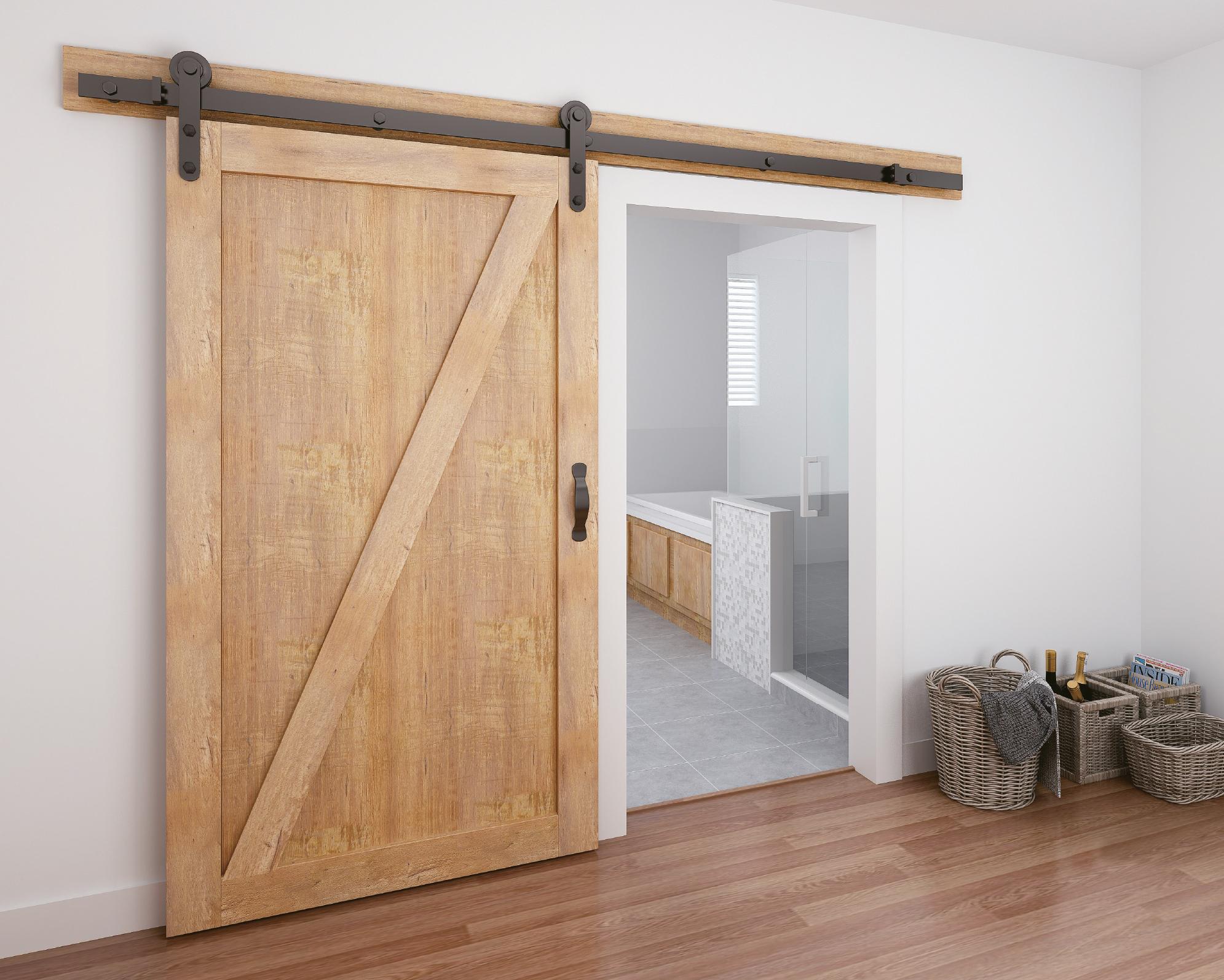 Schuifdeursysteem op houten deur